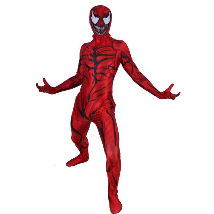 Carnage Cletus Kasady Supervillain Cosplay Costume Zentai Jumpsuit