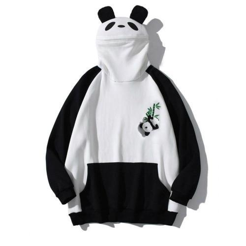 Panda Ears Zipper Bamboo Embroidery Pocket Oversized Hoodie