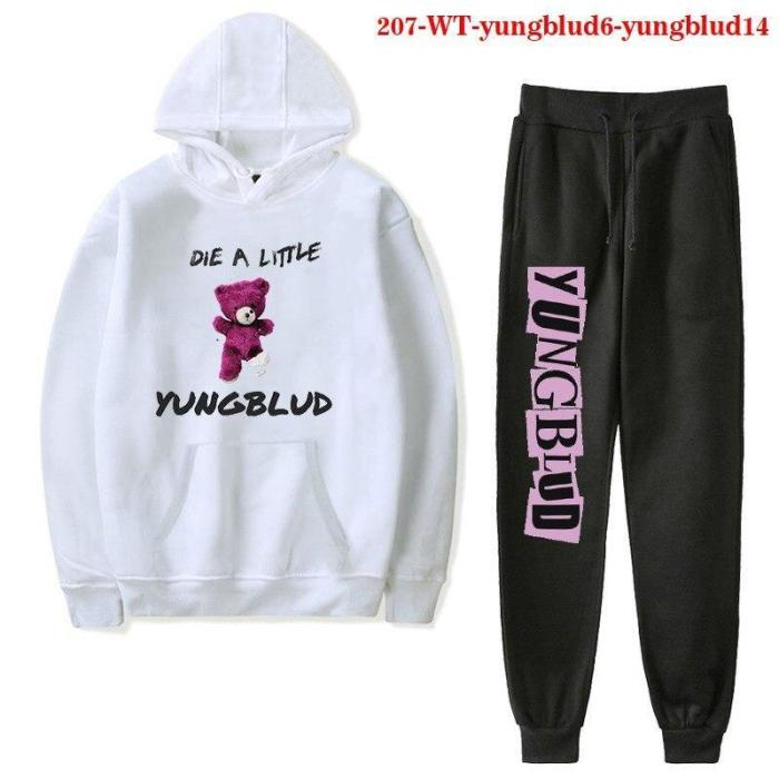 Yungblud Two Piece Set Jogging Hoodie Top + Pant Suit Sportwear Tracksuit Outfits Set