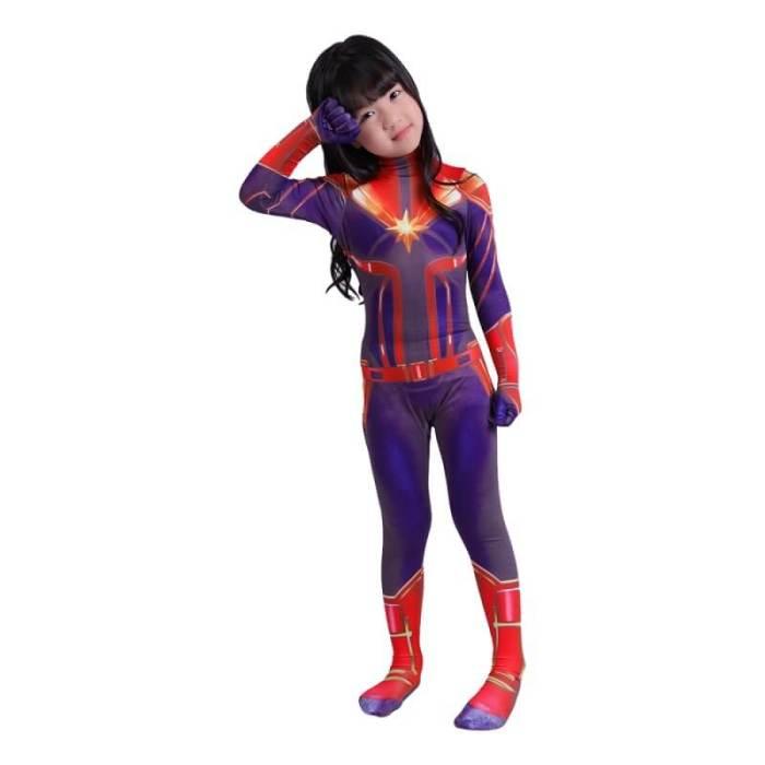 Kids Captain Marvel Zentai Jumpsuit Suit Halloween Cosplay Costume