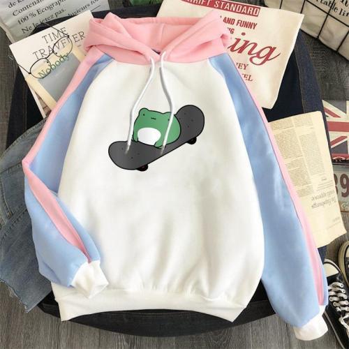 Frog Winter Women Casual Patchwork Color Hoodie Sweatshirt