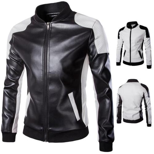 Men'S Stand Collar Trend Black And White Color Matching Jacket