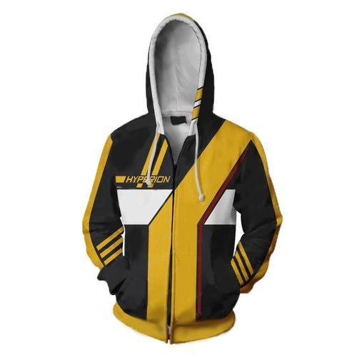 Borderlands Yellow Hyperion Game Unisex 3D Printed Hoodie Sweatshirt Jacket With Zipper