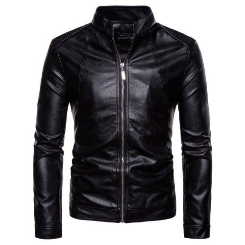Autumn/Winter  Men Standing Collar Motorcycle Pu Leather Jacket
