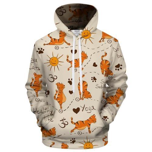 Cat Yoga 3D Sweatshirt Hoodie Pullover