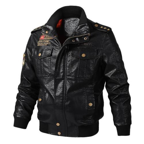 Men Faux Leather Windproof Military Army Jacket