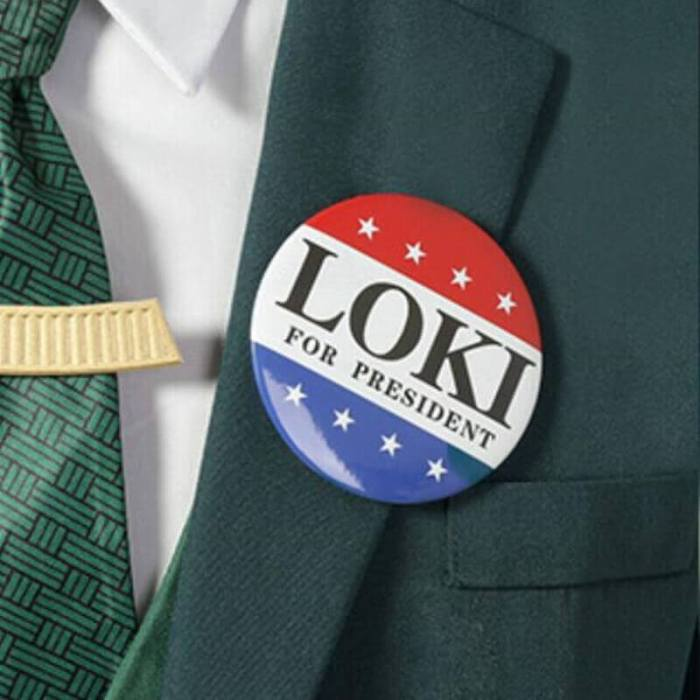 Loki For President Badge Cosplay Acrylic Brooch Pins Accessories Props