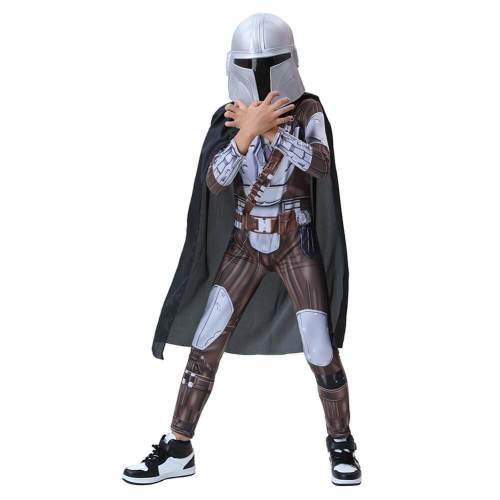 Kids Boys The Mandalorian Cosplay Costume Jumpsuit Cloak Helmet Outfit