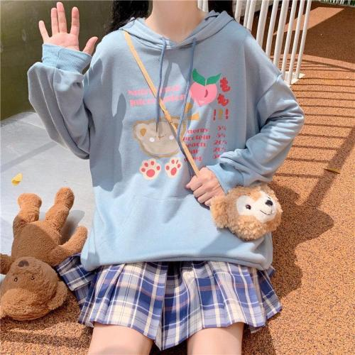 Lolita Girls Hoodie Harajuku Kawaii Sweet Long Rabbit Ear Cap Cute Bear Print Sweatshirt