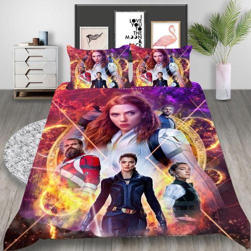 Black Widow Natasha Romanoff Cosplay Bedding Set Duvet Cover Pillowcases Halloween Home Decor