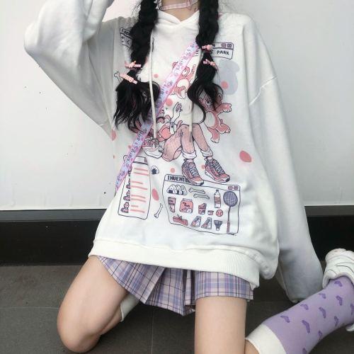 Kawaii Anime Harajuku Hoodie Women Cute Cartoon Korean Style Sweatshirt