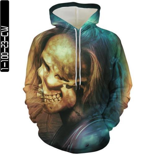 Skull Heads With Hair Movie Cosplay Unisex 3D Printed Hoodie Sweatshirt Pullover