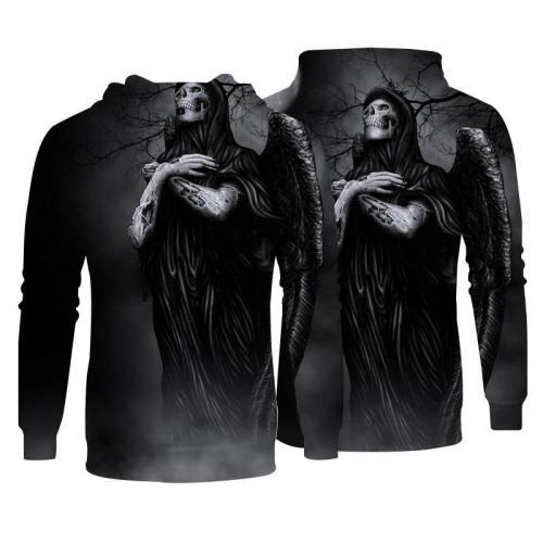 Men Hoodies Top Pullover Sweatshirt  Print 3D Skull Picture Clothing