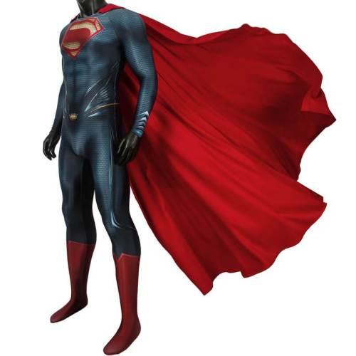 Man Of Steel Superman Clark Kent Jumpsuit With Cloak Cosplay Costume