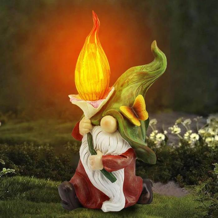 Gnome Statue With Lamp Figurine Crafts Halloween Christmas Decorations