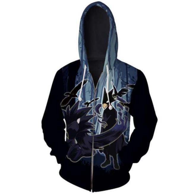 My Hero Academia Anime Tokoyami Fumikage Crow Cosplay Unisex 3D Printed Mha Hoodie Sweatshirt Jacket With Zipper