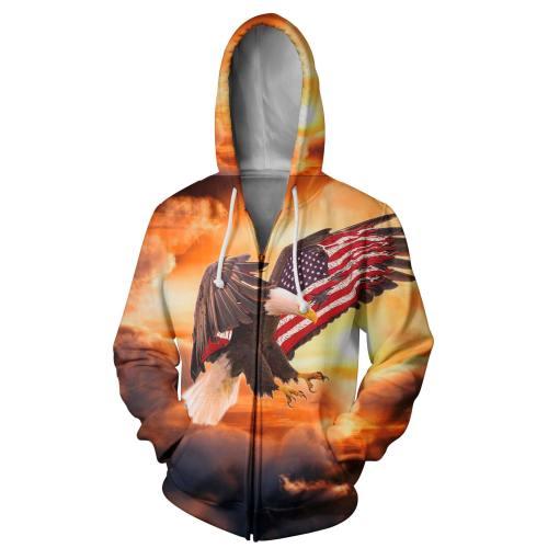 Stunning Usa Eagle 3D Zip Up Hoodie
