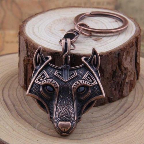 Nordic Wolf Steel Keychain