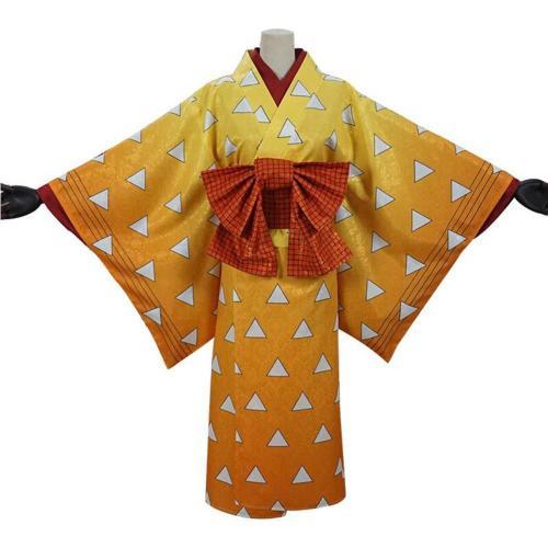 Demon Slayer Agatsuma Zenitsu Women Kimono Outfits Halloween Carnival Costume Cosplay Costume