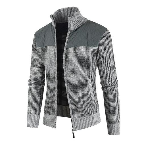 Men Patchwork Tick Stand-Up Collar Sweater Coat