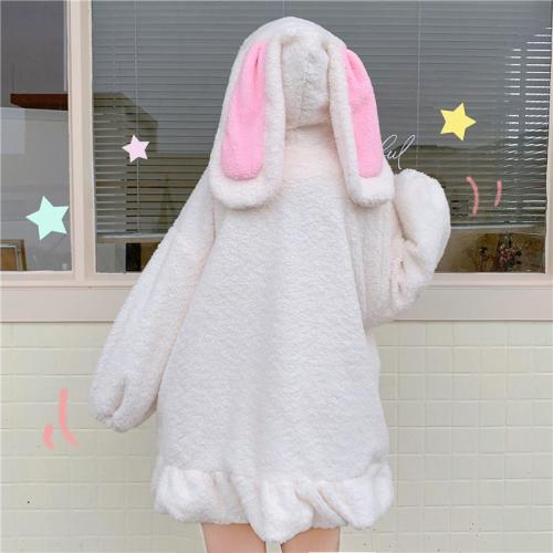 Bunny Ears Ruffle Plush Hooded Coat