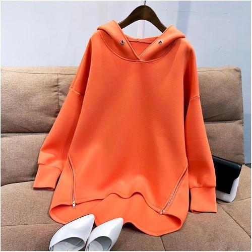 Autumn Korean Thin Long Sleeve Side Zipper Hoodie Sweatshirt Loose Oversize Pullover
