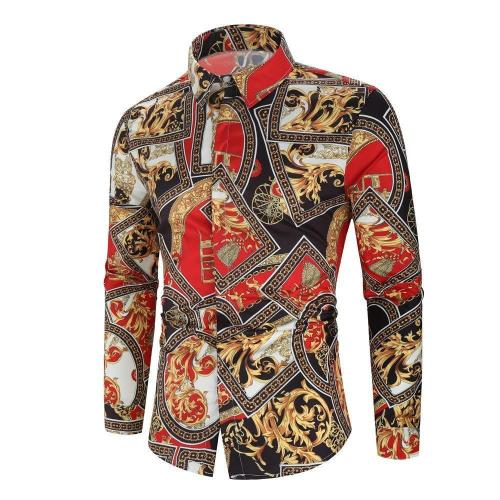 Mens Floral Flower Printed Shirts Long Sleeve Casual