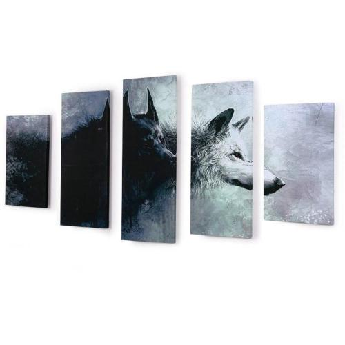 Yin & Yang Wolves 5 Piece Canvas