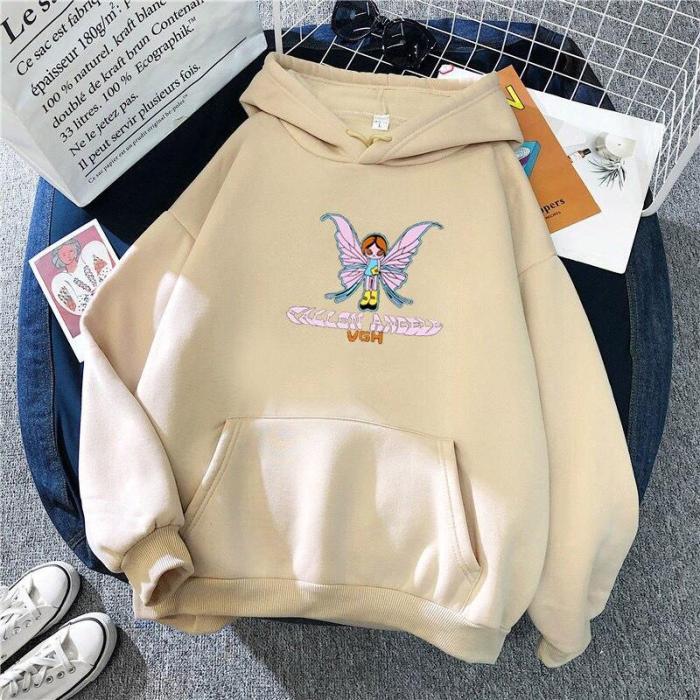 Korea Harajuku E-Girl Butterfly Print Letter Sweatshirt Top Gothic Hoodie Kawaii Oversize Sweatshirt