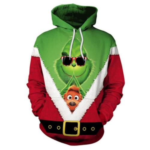 Green Haired Grinch Funny Icon 5 Anime Unisex 3D Printed Hoodie Pullover Sweatshirt