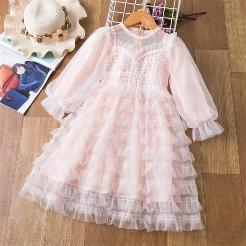 Long Sleeve Girls Lace Cake Princess Dress For Kids