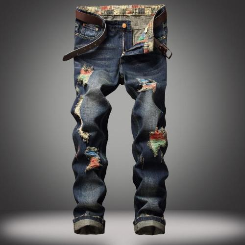Men'S Street Straight-Leg Jeans Paint Hole