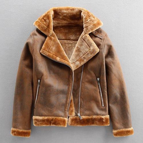 Men Winter Retro Leather Jacket  Warm Motorcycle Jacket