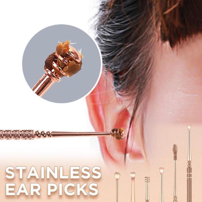 Stainless Steel Ear Pick Ear Wax Remover (6Pcs Set)