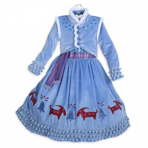 Girls Frozen Princess Anna Cosplay Dresses Halloween Costumes