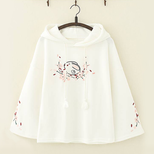 Cute Rabbit Floral Embroidery Hoodie
