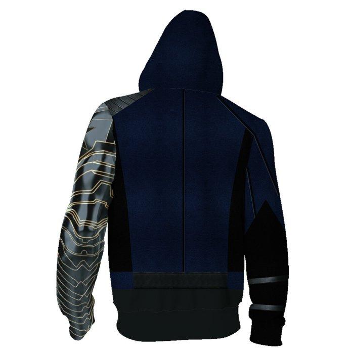 Avengers Movie Winter Soldier White Wolf Blue Cosplay Unisex 3D Printed Hoodie Sweatshirt Jacket With Zipper