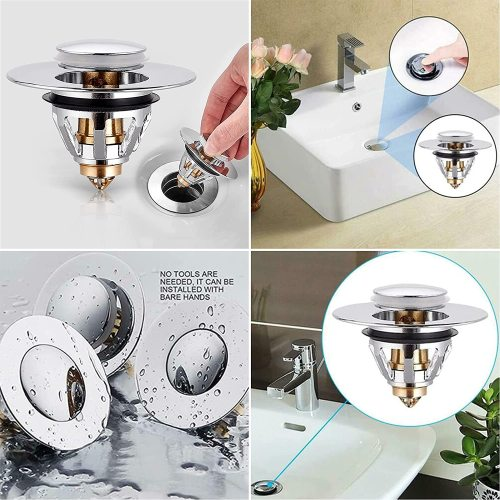 Universal Edition Stainless Steel Bullet Core Push Type Basin Pop-Up Drain Filter For Bathroom Sink
