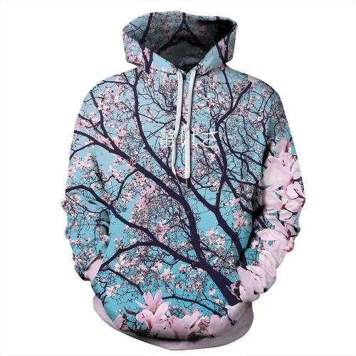 Printed Casual Plus Size Sports Jacket With Hoodie
