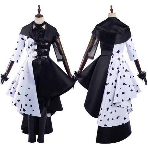 Cruella  Movie Cruella Dress Outfits Halloween Carnival Suit Cosplay Costume