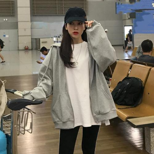 Korean Women Oversize Zip Up Hooded Sweatshirts Cotton Loose Casual Couple Hoodie Outfit