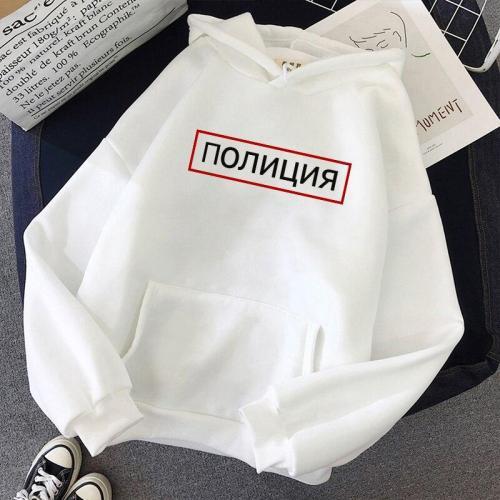 Russian Alphabet Police Print Casual Fun Ins Retro Harajuku Loose Long Sleeve Plus Size Hoodie