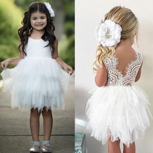 Baby Girl Flower Tulle Lace Dress Party Dress Kids Tutu Princess Costume