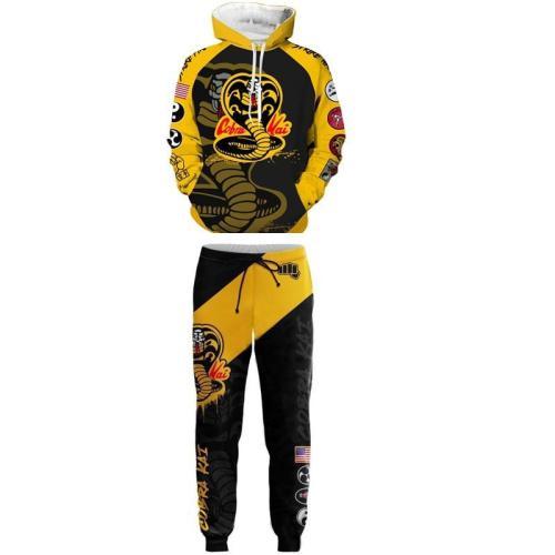 Movie Cobra Kai Cosplay Costume Karate 3D Printing Hoodie Pant
