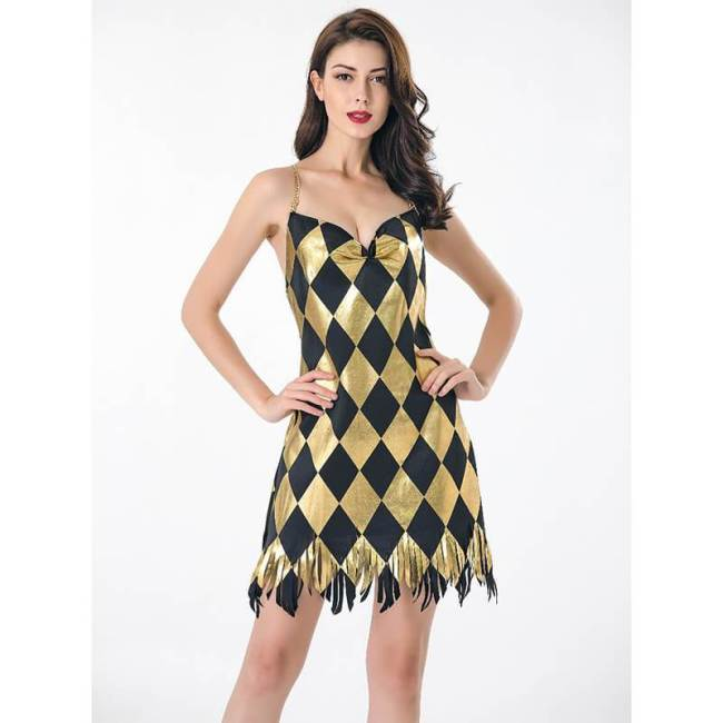 Harley Quinn V Neck Women Dress Black Gold Club Dress Cosplay Costume