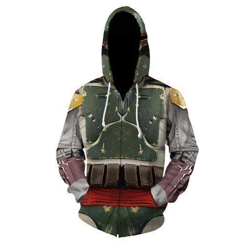 Unisex Star Wars Hoodies 3D Print Zip Up Sweatshirt Outfit Boba Fett Cosplay Casual Outerwear