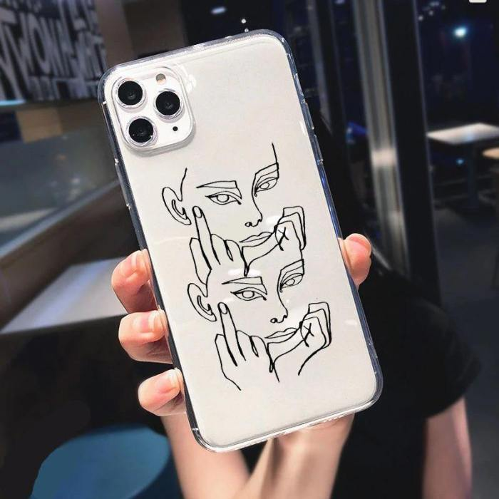 Abstract Women'S Face Art Line Phone Case For Iphone