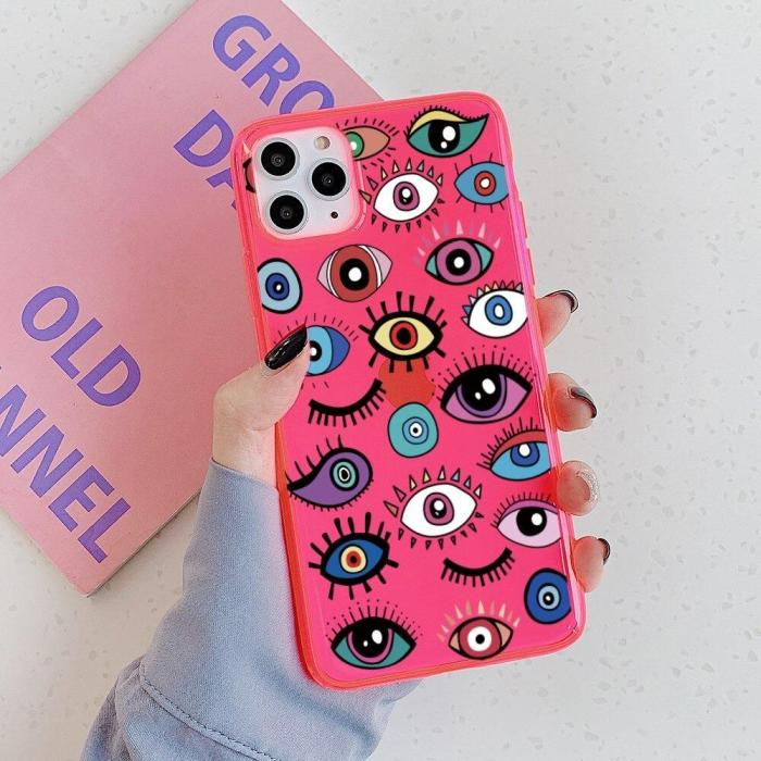 Funny Eyes Pattern Fluorescent Phone Case For Iphone