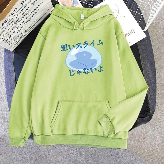 Kawaii Tensura Nikki Slime Print Anime Streetwear Japan Aesthetic Cute Harajuku Casual Unisex Hoodie