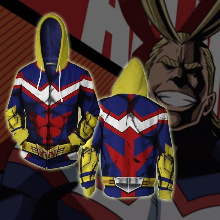 My Hero Academia Anime All Might  Style Cosplay Unisex 3D Printed Mha Hoodie Sweatshirt Jacket With Zipper